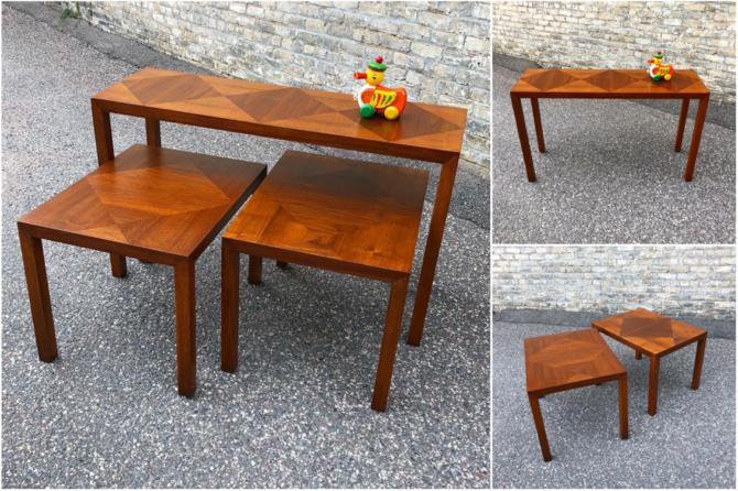 Inlaid Walnut Accent + Console Tablesparsons Style Console And Accent Tables Made By Lane Furniture Circa 1969/1970. These Tables Are Modern Simplicity, With Clean Lines And No Ornamentation. The Wow Factor Comes From The Precise, Diamond-shaped Inlays On The Table Tops. Plus, The Console Table Is A Great Size If You Want To Use It As A Writing Desk. All Are Restored With A Rich Walnut Finish.console Table