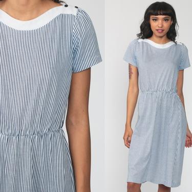 Blue Striped Dress Midi Puff Sleeve Dress 80s Secretary Dress 70s High Waisted Navy 1980s Vintage Knee Length Boatneck Small Medium by ShopExile