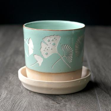 "Ginkgo Leaf Planter in Pistachio Green - 3"" plant pot with drainage + saucer by BreadandBadger"