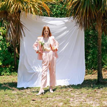 70s Light Pastel Pink Matching Suit Vintage Woven Blazer Pant Suit Set by AppleBranchesVintage