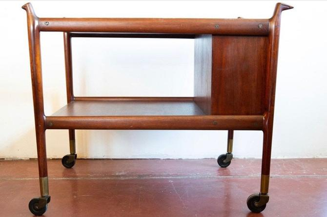 Falster Mobelfabrik Style Bar Cart Storage Double Door Bull Horn Style by BigWhaleConsignment
