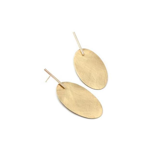 Large Tala Drop Earrings - Brass
