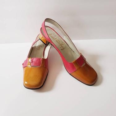 1960s Slingback Shoes Marshall Fields Orange Pink Leather / 60s Sandals Chunky Low Heel Mod Two Toned / 8 1/2 / Germaine by RareJuleVintage