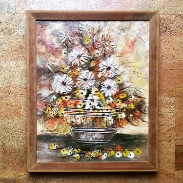 "Vintage Lee Reynolds Floral Still Life Impasto Painting, Mid-Century Retro 20"" by templeofvintage"