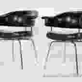 Black and chrome armchairs