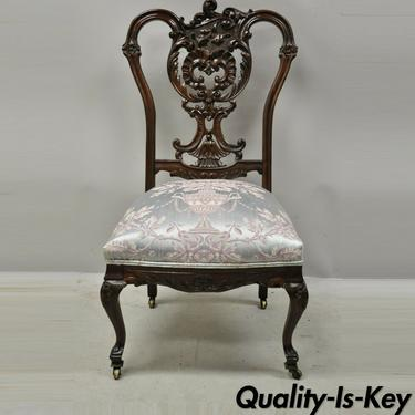 Antique Victorian Floral Scrollwork Carved Mahogany Parlor Accent Slipper Chair