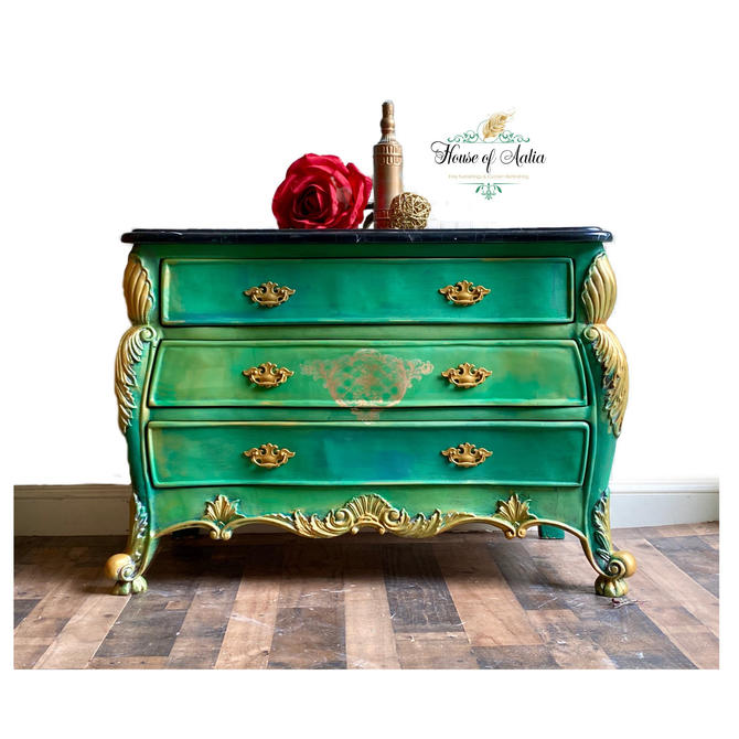 Emerald and Gold French Provincial Bombe Chest or Dresser. Vintage Chest. Entryway Accent Table. Boho, Eclectic, French Country Bedroom. by HouseofAalia
