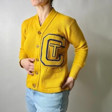 Vintage 60s Georgia Tech Varsity Letterman Cardigan Sweater, Size 38 by Northforkvintageshop