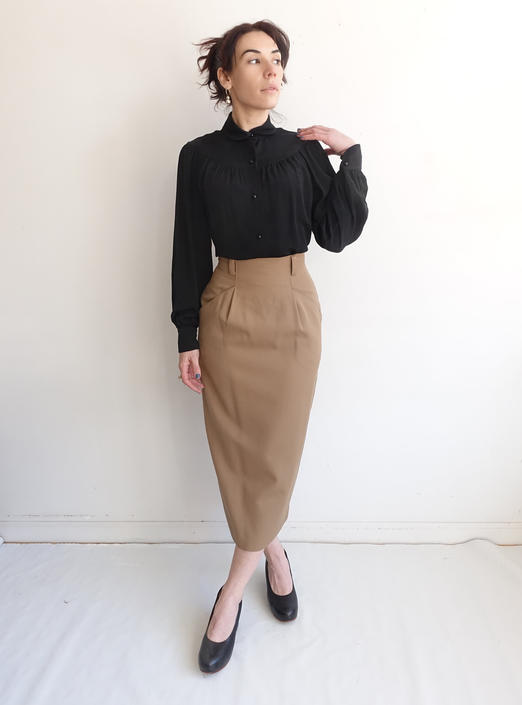 Vintage Wool Pencil Skirt/ 1990s High Waisted Tapered Tan Camel Secretary Skirt/ Size XS 24 by bottleofbread