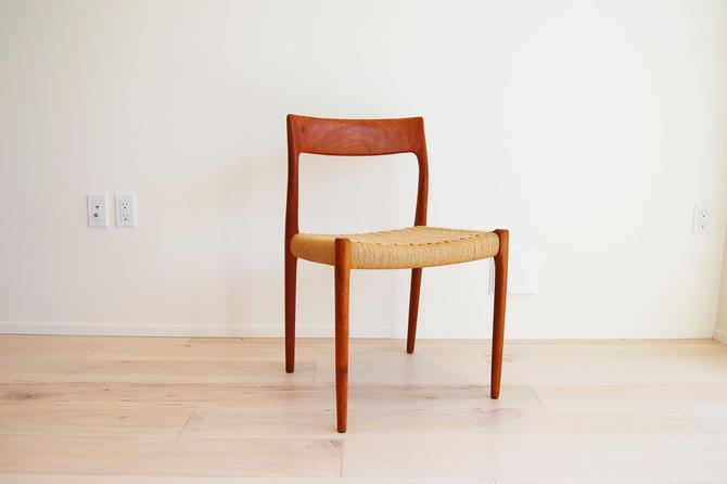 Restored Danish Modern J L Moller Teak Dining Chair Model 77 Made in Denmark by MidCentury55