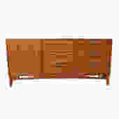 Mid Century Walnut Long Diamond Inlay Dresser