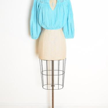 vintage 70s crop top turquoise blue gauze crochet hippie boho shirt blouse clothing by huncamuncavintage