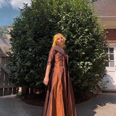 Vintage 60s Bronze Silk Gown/Jacket Set with Matching Belt by TheMetalRomanticShop