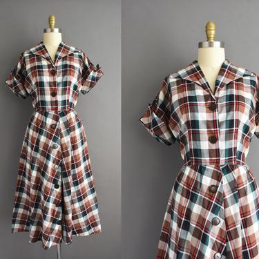vintage 1950s   Classic Brown & Green Plaid Print Short Sleeve Full Skirt Cotton Shirt Dress   Large   50s dress by simplicityisbliss