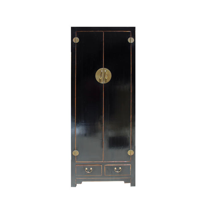 Chinese Oriental Distressed Black Lacquer Moonface Tall Storage Cabinet cs5147E by GoldenLotusAntiques