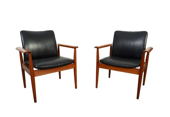 Finn Juhl Teak Diplomat Chair Pair of Chairs Danish Modern Mid Century Modern by HearthsideHome