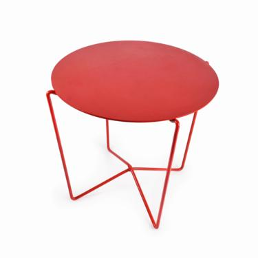 Round Side Table Metal Base Mid Century Modern Style by VintageInquisitor
