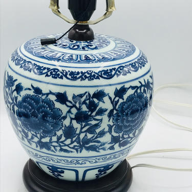 Large  Chinese  Blue and White Table  lamp- Asian Design-Lotus Flower Canton Ginger Jar- Works great by JoAnntiques