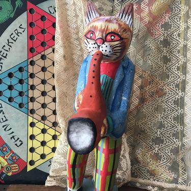 Vintage Anthropomorphic Wooden Cat Musician, Folk Art Cat, Sax Player, Hand Painted, Yellow Tabby Cat by luckduck