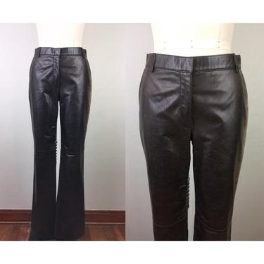 Vintage 90s DESIGNER Brown Leather Pants Distressed Mid Rise S by FlashbackATX