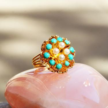 Vintage 14K Rose Gold Seed Pearl & Turquoise Bead Dome Cluster Ring, Ornate Gold Flower Cocktail Ring, Gold Wire Band, Size 6 3/4 US by shopGoodsVintage