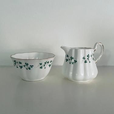 "Vintage Royal Tara Fine Bone China ""Shamrock"" Made in Galway; Made in the Republic of Ireland; Small Sugar Creamer Set by BlackcurrantPreserve"