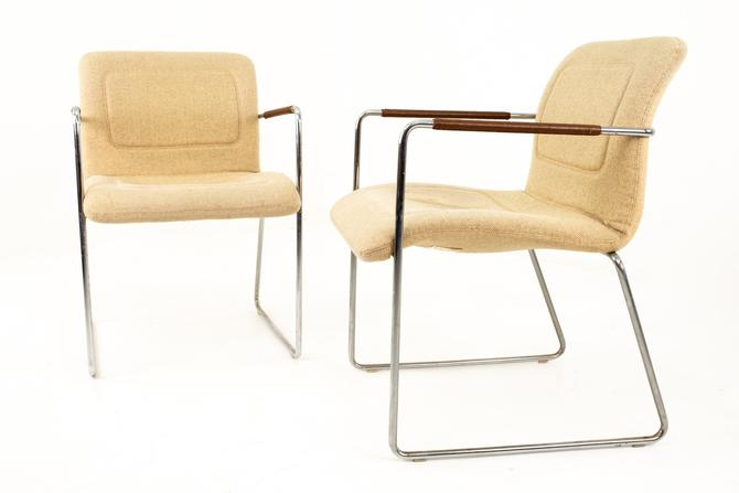 Mid Century Chrome and White Upholstery Lounge Chairs with Leather Wrap Armrest - Pair - mcm by ModernHill