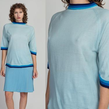 70s Blue Gradient Striped Knit Mockneck Top - Men's Large   Vintage Unisex Oversized Short Sleeve Lightweight Sweater Shirt by FlyingAppleVintage