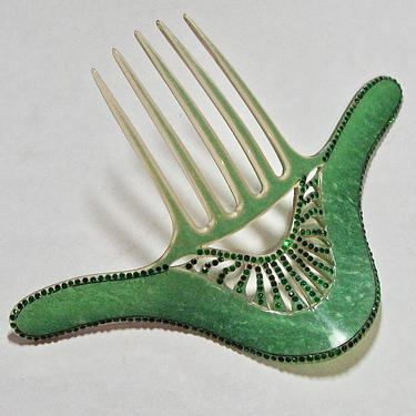 Art Deco Jade Green Rhinestone Comb, Celluloid Comb, Antique Hair Comb, Flapper Hair Ornament, Vintage Comb, Hair Decoration, HairJewelry by CombAgain