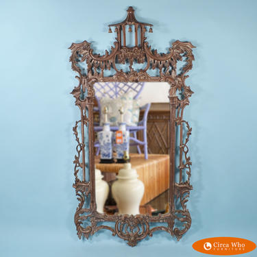 Large Italian Vintage Pagoda Chinese Chippendale Mirror