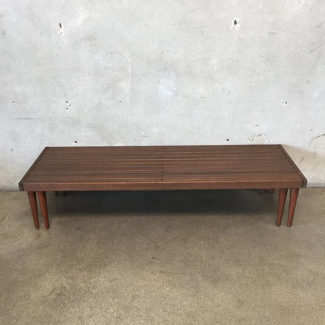 Mid Century Modern Slat Expansion Bench
