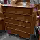 Mid-Century Modern American walnut highboy with rattan-wrapped pulls