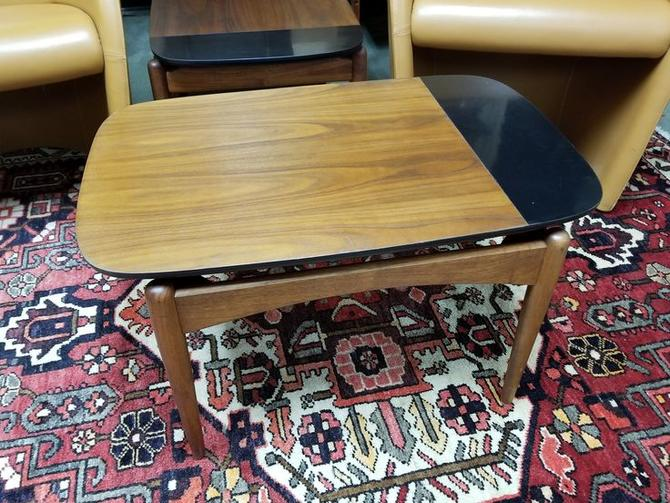 Mid-Century Modern walnut and black side table