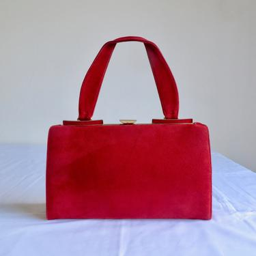 Vintage 1960s Red Suede Purse Handbag Top Handle Structured Gold Hardware Closure Rectangle Shape 60's Accessories by seekcollect