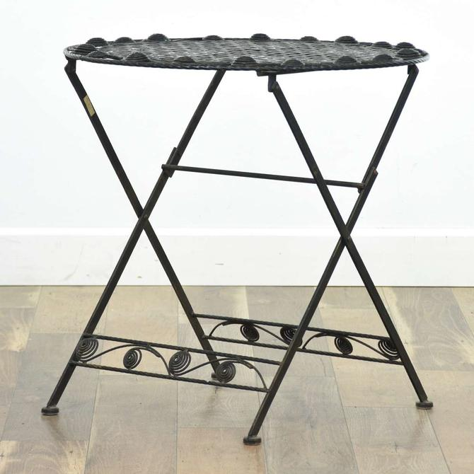 Round Outdoor Black Metal Folding Patio End Table