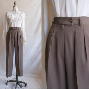 Vintage Olive Green Pleated Trousers/ 1980s High Waisted Wool Dress Pants/ Size Small 25 by bottleofbread