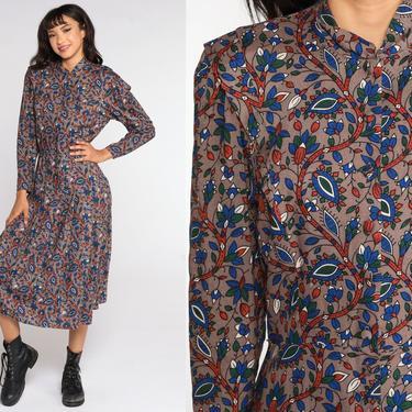 Taupe Floral Dress Midi Boho High Waisted Slouchy Secretary Dress 80s Vintage Long Sleeve Bohemian 1980s medium by ShopExile