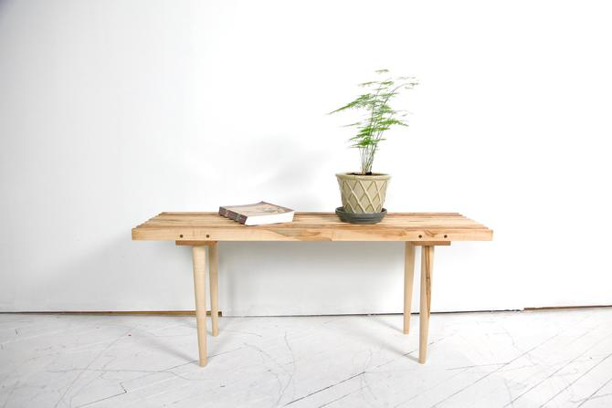 Solid wood hard maple slatted bench on wooden legs | Free delivery in NYC and Hudson areas by OmasaProjects
