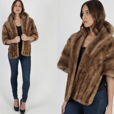 Womens Mink Stole / Real Fur Wrap With Pockets / 1960 Autumn Haze Bridesmaids Bolero / Recycled Tan Bridesmaids Shrug Bolero by americanarchive