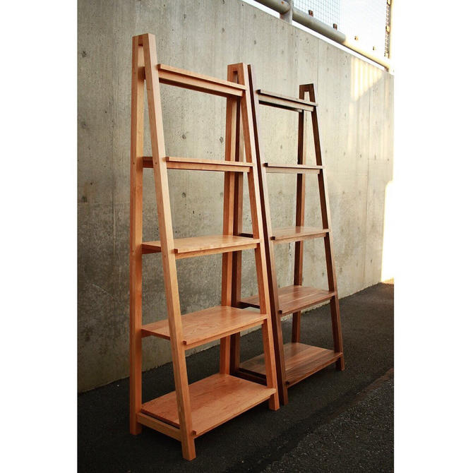 Modern Slant Bookcase, Slanted Bookshelf, Solid Hardwood Slanted Bookcase, Ladder Shelf (Shown in Walnut & Cherry) by TomfooleryWood