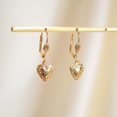 gold vintage heart earring, gold heart earring, dainty vintage heart earring, gold dangle heart, dainty gold earring, heart earring, gift by melangeblancdesigns