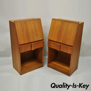 Vintage Mid Century Danish Modern Teak Bedside Cabinet Nightstands - a Pair