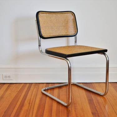 Vintage Italian Marcel Breuer Cesca Style Chair in Black and Ratan by SourcedModern
