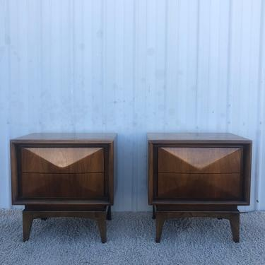 Mid Century Diamond Front Nightstands by United