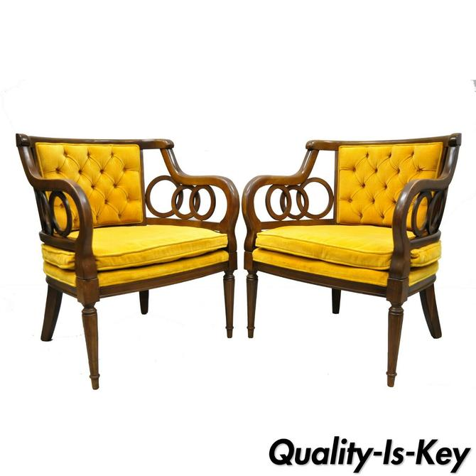 Pair of Vintage Hollywood Regency Spiral Ring Yellow Lounge Arm Club Chairs