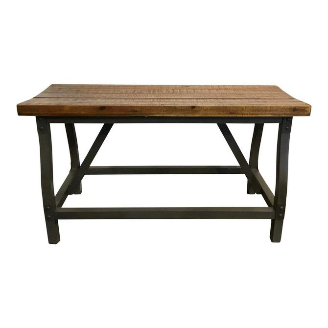Industrial Modern Wood and Iron Gathering Bench
