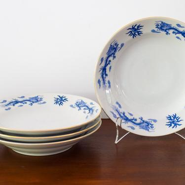 Set of 4 Blue and White Chinoiserie Asian Dragon Bowls by CapitolVintageCharm