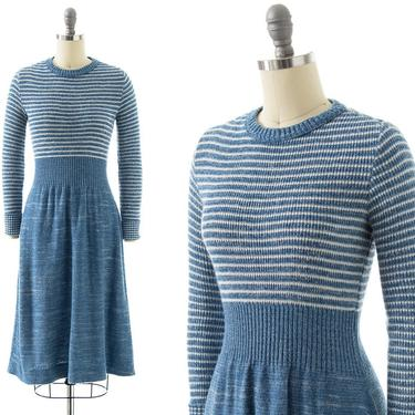 Vintage 1970s Sweater Dress | 70s Blue Striped Knit Acrylic Long Sleeve Midi Fit and Flare Sweaterdress (x-small/small) by BirthdayLifeVintage