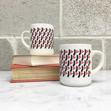 Vintage Mug Set 1980s YMCA + Ceramic + White + Black + Red + 11 Oz + Set of 2 Matching + Coffee Cups + Home and Kitchen Decor by RetrospectVintage215