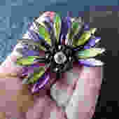 Purple and Green Rhinestone Japanned Brooch by LegendaryBeast